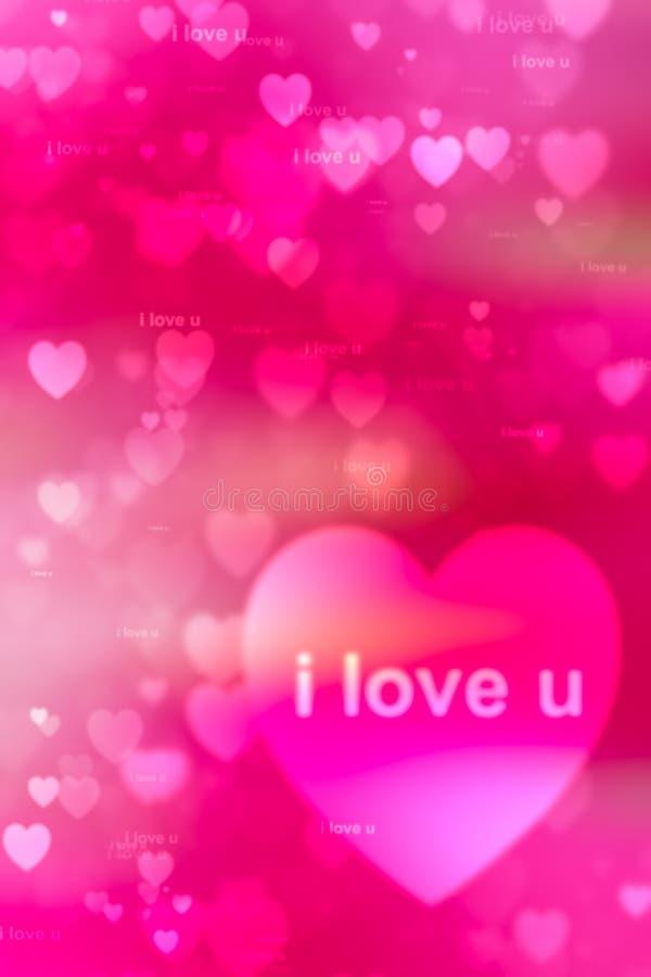 Woorden i houden van u als rode achtergrond stock foto's