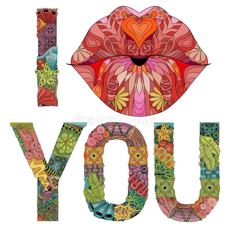 Woorden I kussen u met lippen silhouetteren Vector decoratief zentanglevoorwerp stock illustratie