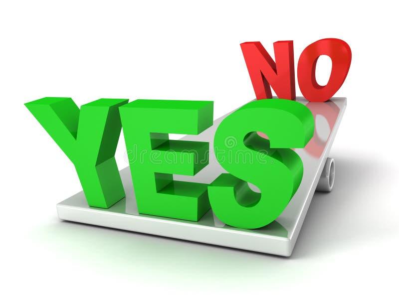 Woorden ja en Nr op de saldoschalen stock illustratie
