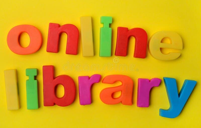 Woorden Online Bibliotheek op achtergrond royalty-vrije stock afbeeldingen