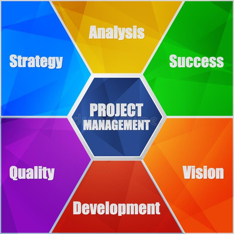 Woorden van het projectleidings en de bedrijfsconcept in vlak ontwerp inf royalty-vrije illustratie
