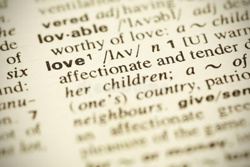 Woordenboekdefinitie van de woordliefde royalty-vrije stock afbeelding