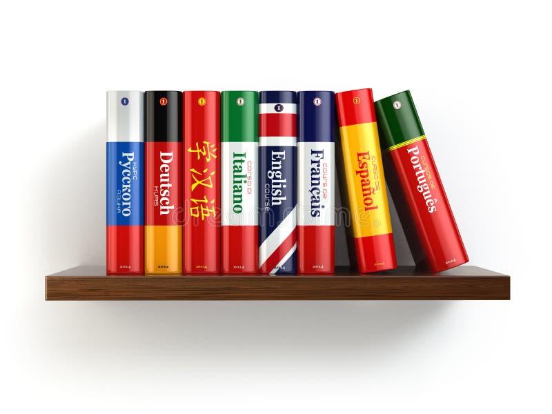 Woordenboeken op boekenrek witte backgound stock illustratie