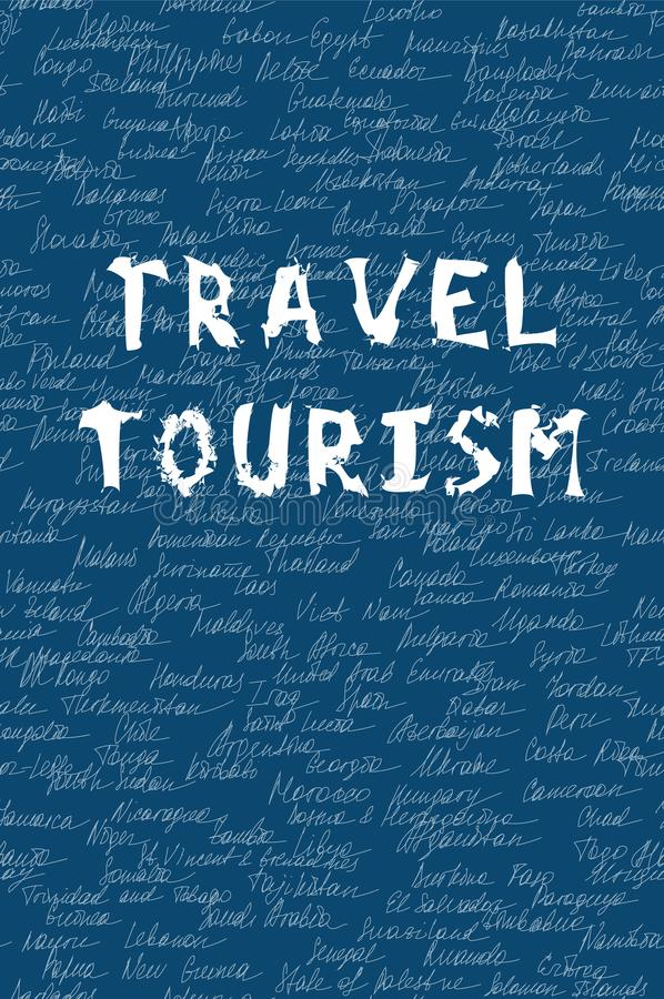 Woordenreis en toerisme op het naadloze patroon De witte als achtergrond naam van kleurenbrieven en van 195 provincies op de were royalty-vrije illustratie