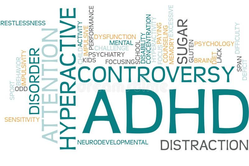 Woordenwolk met ADHD stock illustratie