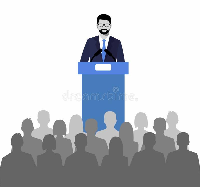 Woordvoerder die van de tribune spreken openbare spreker en een menigte op stoelen royalty-vrije illustratie