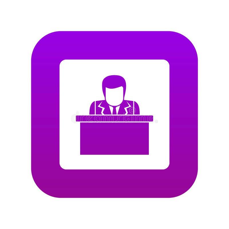 Woordvoerder die van digitale purple van het tribunepictogram spreken stock illustratie