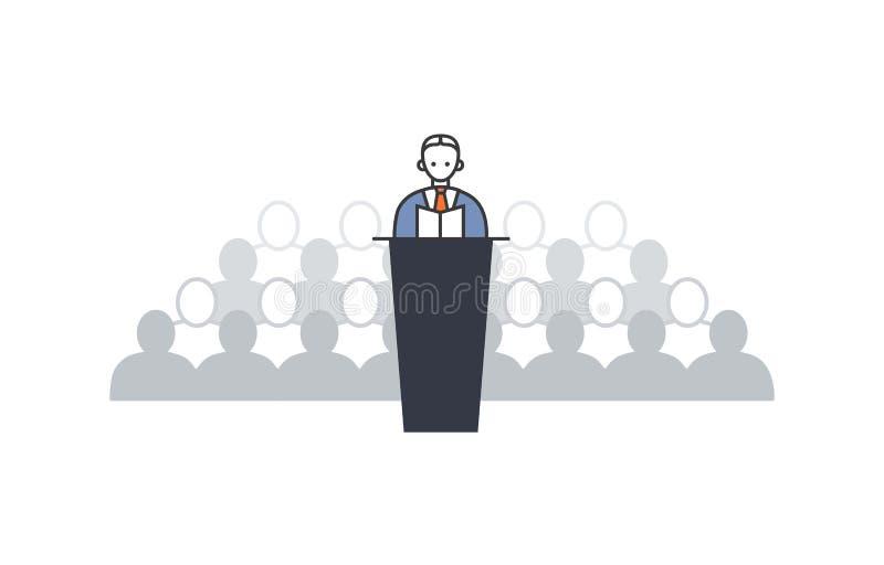 Woordvoerder die van tribune op een achtergrond spreken van stock illustratie