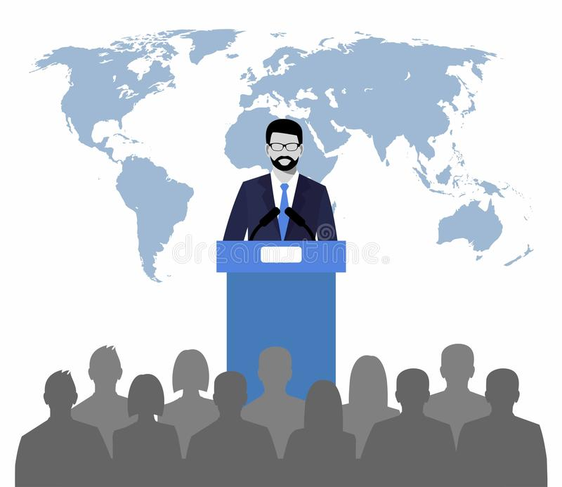 Woordvoerder die van tribune op een achtergrondkaart van de wereld spreken Openbare Spreker vector illustratie