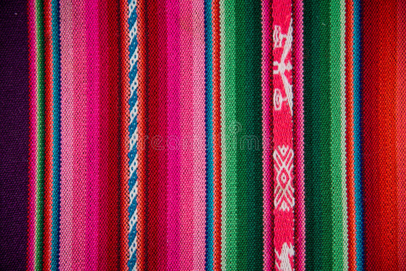 Wooven Wool Boliva traditional Fabric Background colourful Texture. South American Culture. royalty free stock photography