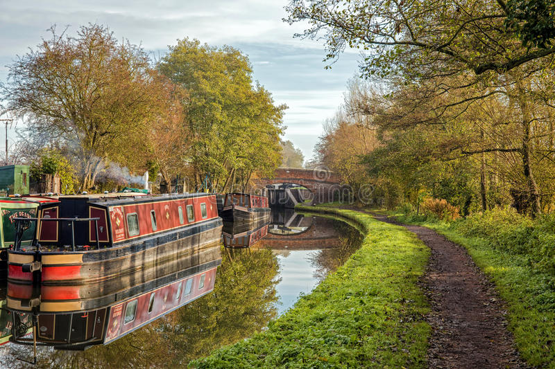 Narrowboats, Worcester & Birmingham Canal, Stoke Prior, Worcestershire. royalty free stock photo