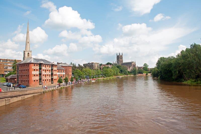 Worcester en de severn rivier stock fotografie
