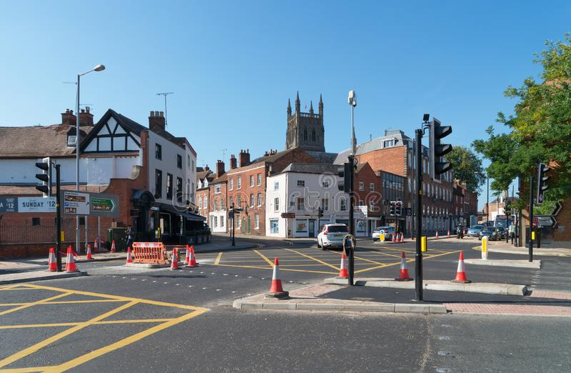 Worcester Street Scape. Street scene in Worcester city United Kingdom stock photo
