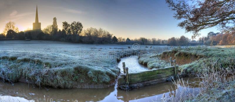 Worcestershire-Ackerland im Winter stockfotos