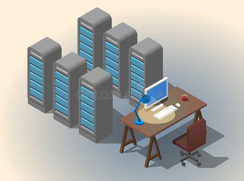Worcplace degli sviluppatori di software Illustrazione isometrica di concetto di vettore piano 3D illustrazione vettoriale