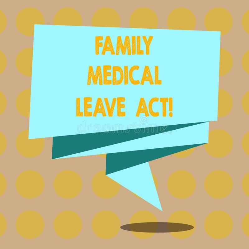 Word écrivant à famille des textes l'acte médical de congé Le concept d'affaires pour le droit du travail de FMLA couvrant des em illustration stock