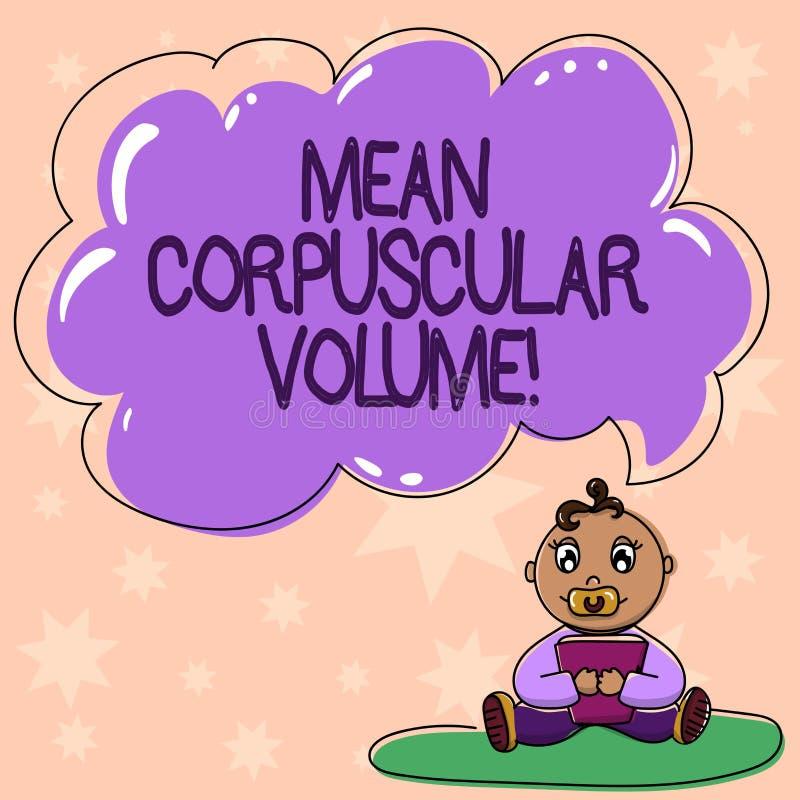 Word écrivant à moyen des textes le volume corpusculaire Concept d'affaires pour le volume moyen d'un bébé rouge de mesure de cor illustration de vecteur