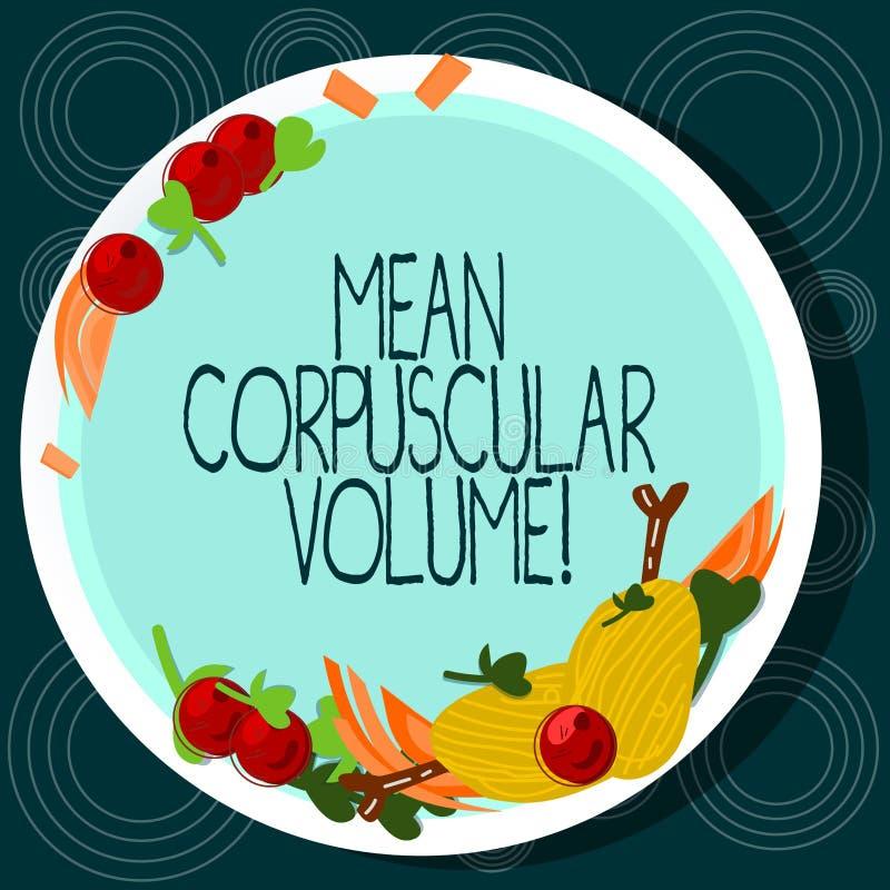 Word écrivant à moyen des textes le volume corpusculaire Concept d'affaires pour le volume moyen d'une main rouge de mesure de co illustration stock