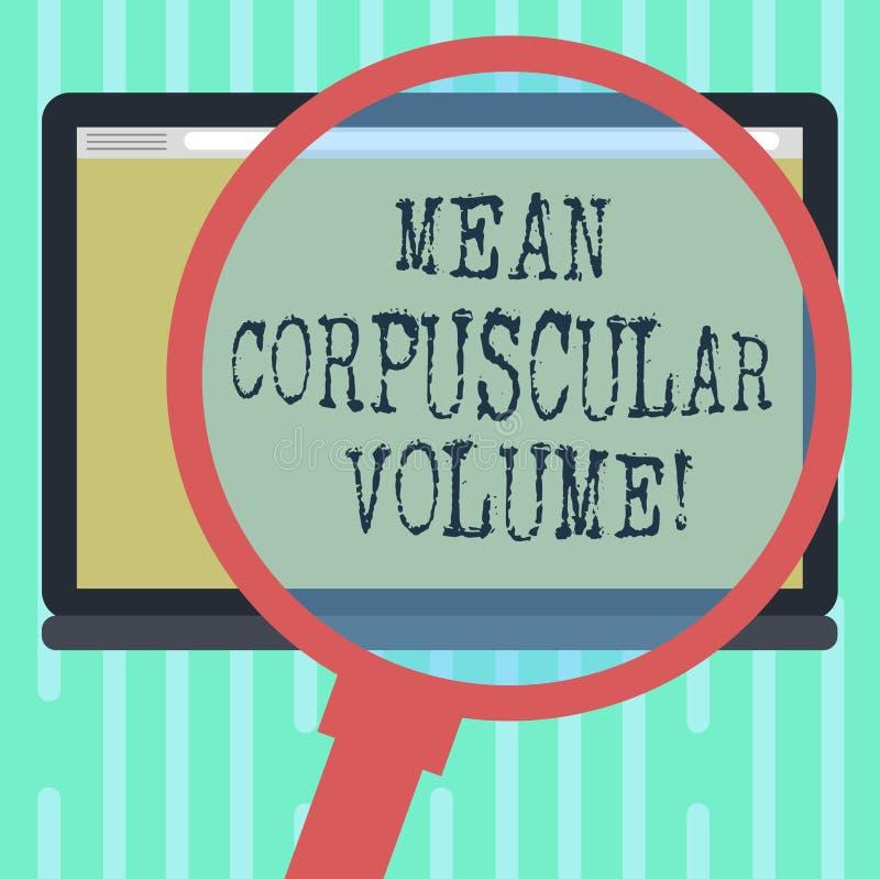 Word écrivant à moyen des textes le volume corpusculaire Concept d'affaires pour le volume moyen d'une mesure rouge de corpuscule illustration libre de droits