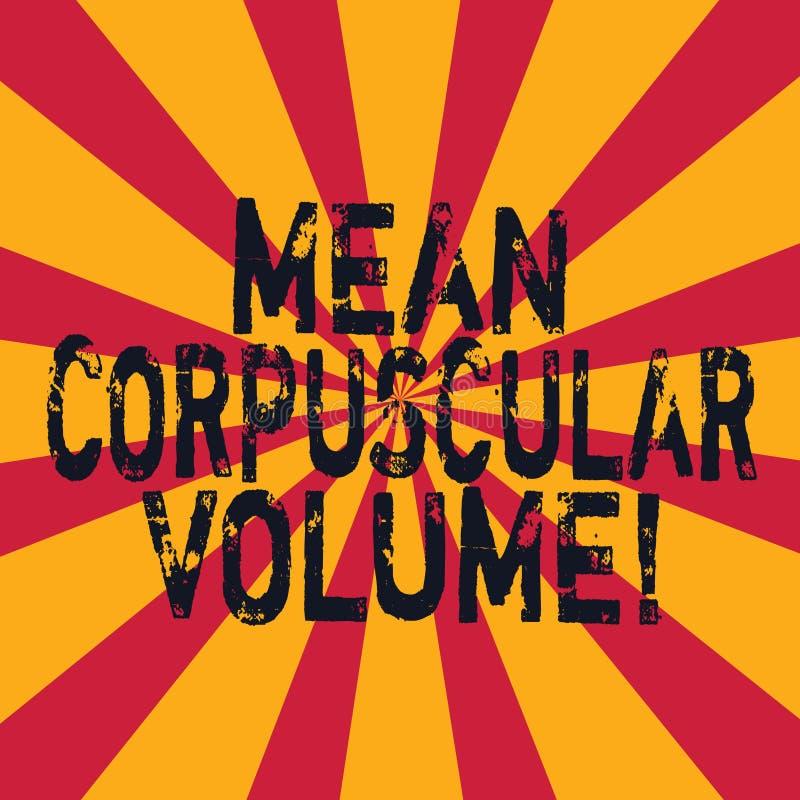 Word écrivant à moyen des textes le volume corpusculaire Concept d'affaires pour le volume moyen d'une mesure rouge de corpuscule illustration stock