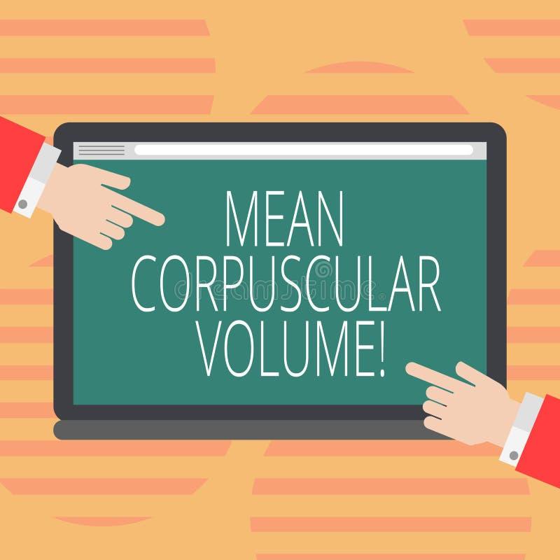 Word écrivant à moyen des textes le volume corpusculaire Concept d'affaires pour le volume moyen d'une mesure rouge HU de corpusc illustration de vecteur