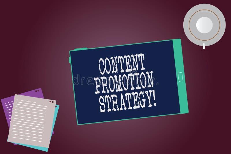 Word écrivant à texte la stratégie satisfaite de promotion Concept d'affaires pour engager dans l'assistance au-dessus des promot illustration de vecteur