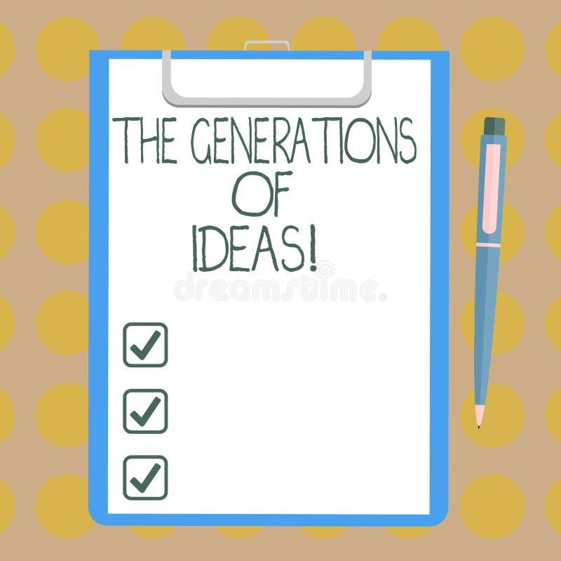 Word écrivant à texte les générations des idées Concept d'affaires pour faire un brainstorm le blanc créatif d'inspiration d'acti illustration libre de droits