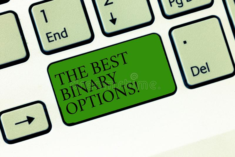 Word écrivant à texte les meilleures options binaires Concept d'affaires pour le clavier monétaire fixe de montants de grande opt images stock