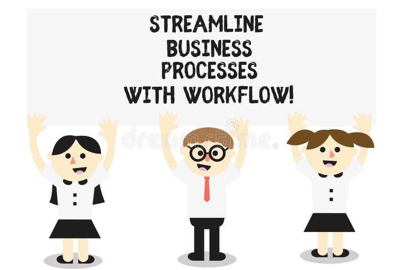 Word écrivant à texte les processus aérodynamiques d'affaires avec le déroulement des opérations Concept d'affaires pour le proce illustration de vecteur