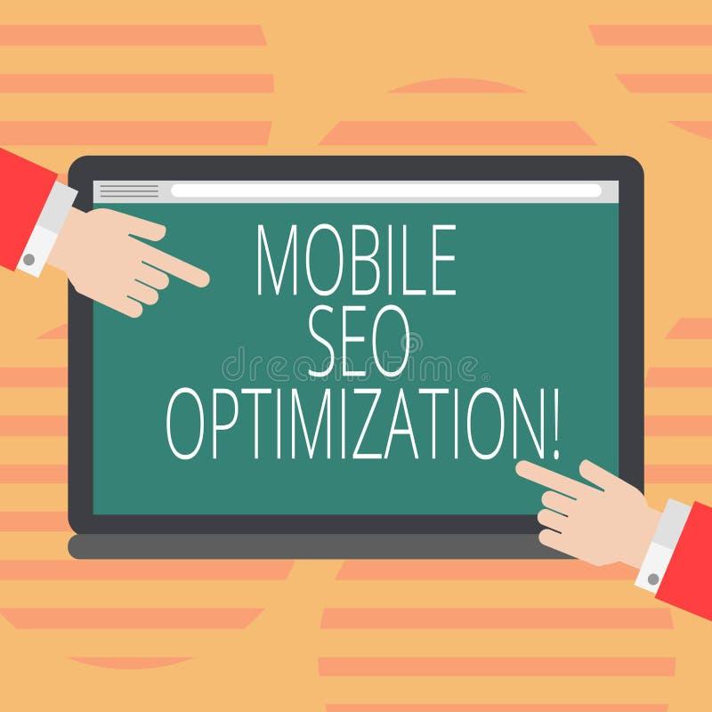 Word écrivant à texte Seo Optimization mobile Le concept d'affaires pour permet à un site Web de se ranger pour des recherches mo illustration stock