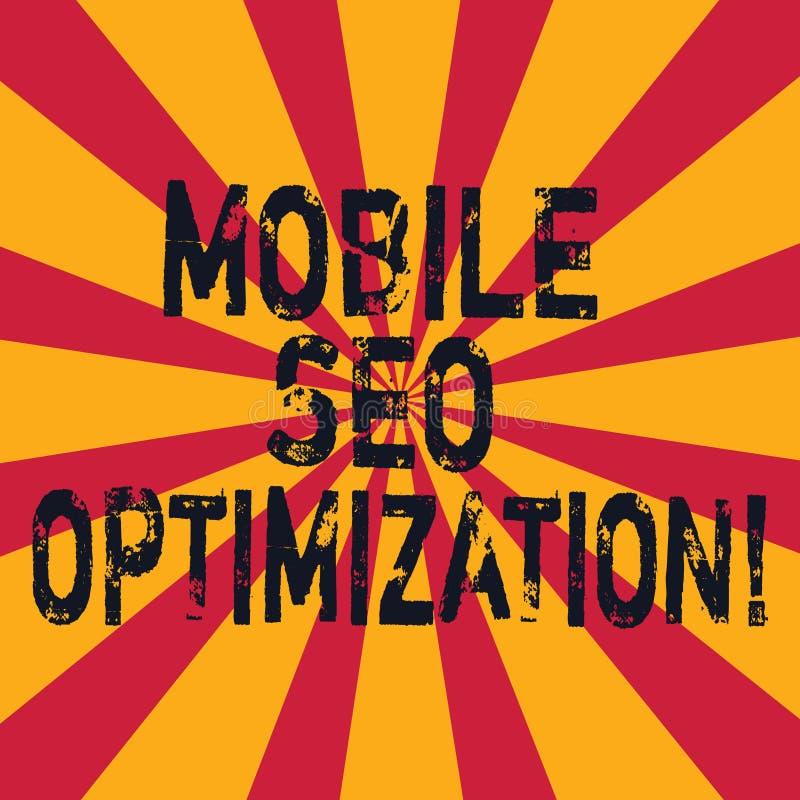 Word écrivant à texte Seo Optimization mobile Le concept d'affaires pour permet à un site Web de se ranger pour le rayon de solei illustration de vecteur