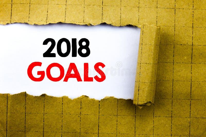 Word, écrivant 2018 buts Le concept d'affaires pour la planification financière, stratégie commerciale écrite sur le livre blanc  photo stock