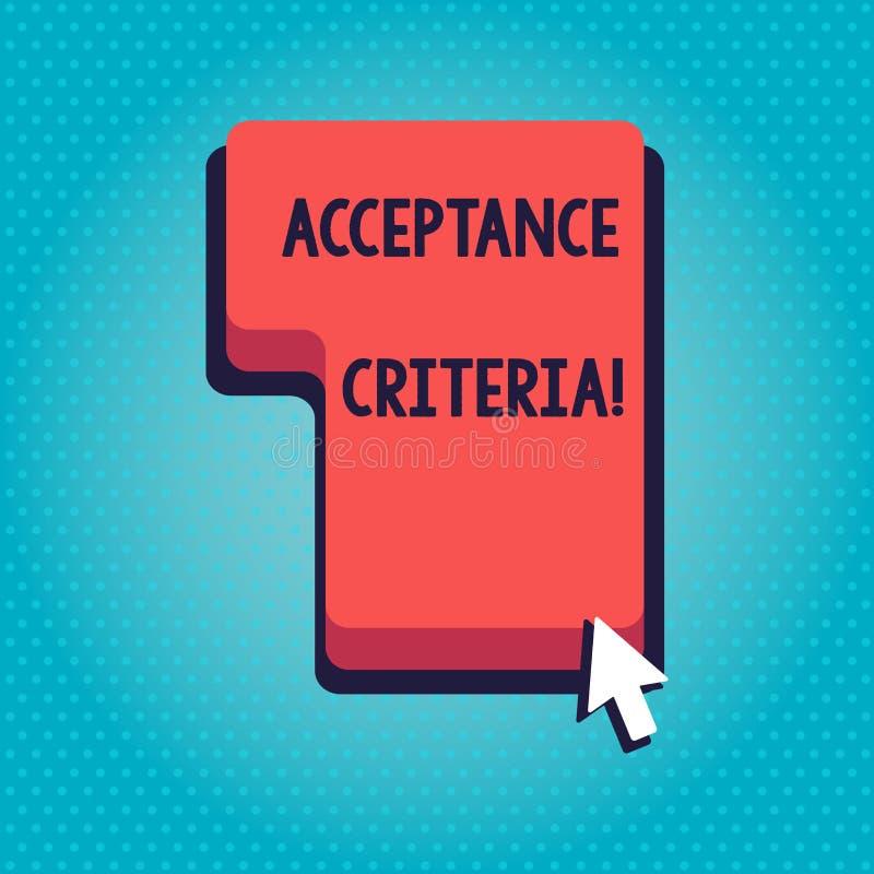 Word écrivant des critères d'acceptation des textes Concept d'affaires pour les conditions qui produit satisfaire à admis par l'u illustration de vecteur