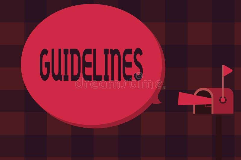 Word écrivant des directives des textes Concept d'affaires pour des instructions de politiques de conseil de principe de règle gé illustration de vecteur