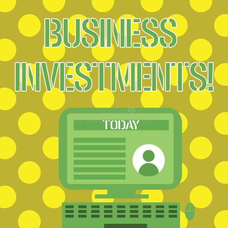 Word écrivant des investissements productifs des textes Concept d'affaires pour l'acte de l'argent ou du capital de engagement  illustration stock
