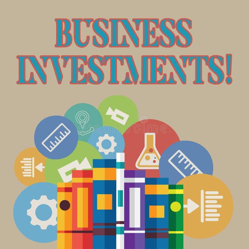 Word écrivant des investissements productifs des textes Concept d'affaires pour l'acte de l'argent ou du capital de engagement a illustration stock