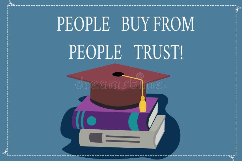Word écrivant des personnes des textes achètent des personnes qu'elles font confiance au concept d'affaires pour la couleur de co illustration stock
