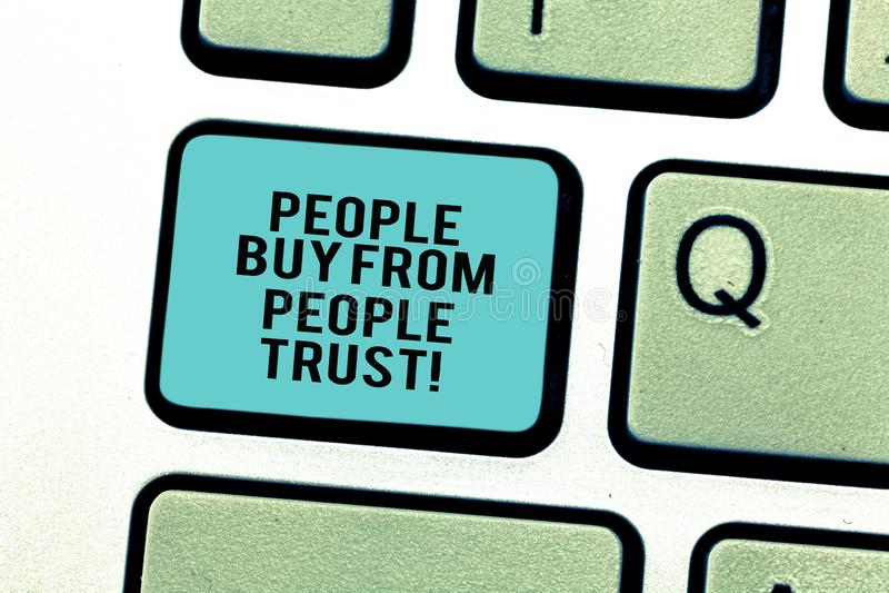 Word écrivant des personnes des textes achètent des personnes qu'elles font confiance au concept d'affaires pour la confiance et  illustration libre de droits