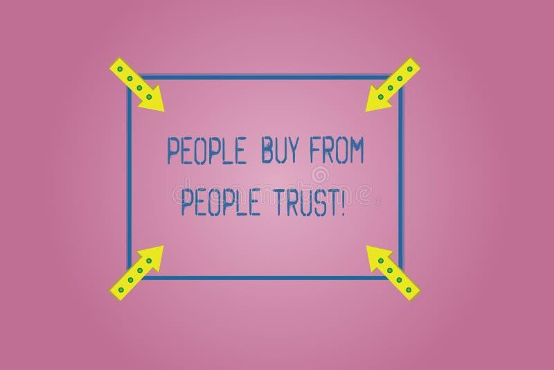 Word écrivant des personnes des textes achètent des personnes qu'elles font confiance au concept d'affaires pour la confiance et  illustration de vecteur