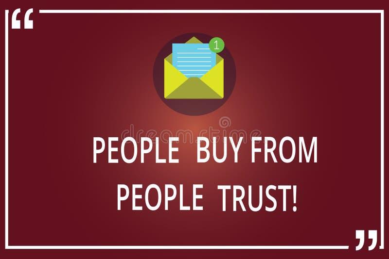 Word écrivant des personnes des textes achètent des personnes qu'elles font confiance que concept d'affaires pour la confiance de illustration de vecteur