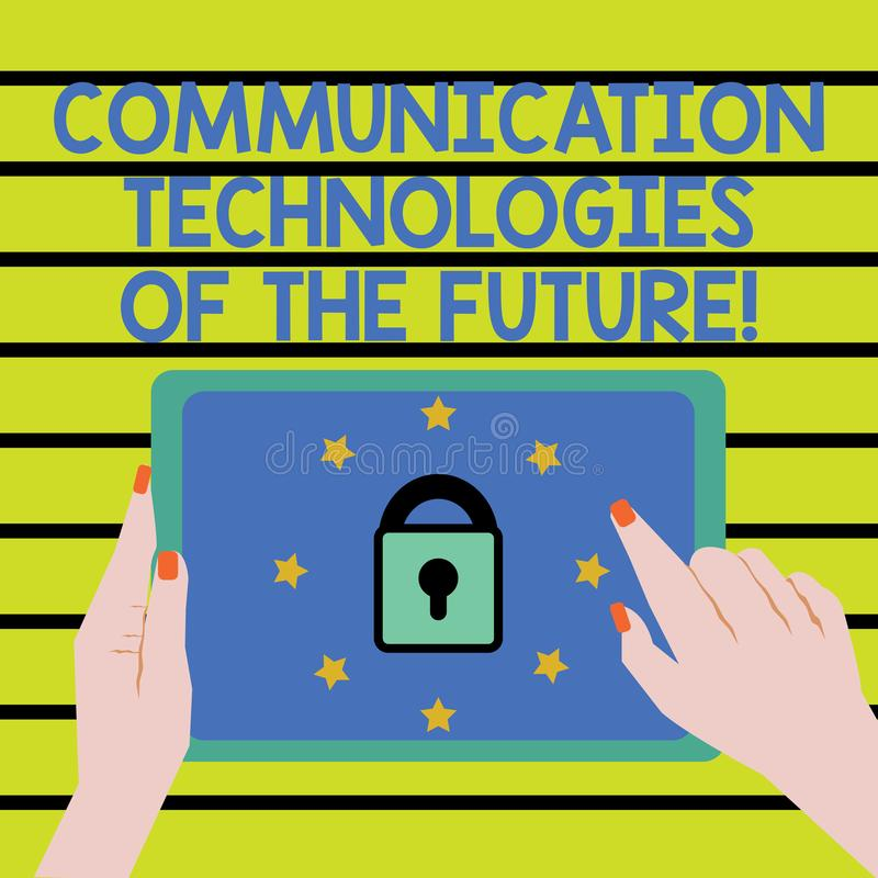 Word écrivant des technologies des communications des textes de l'avenir Concept d'affaires pour la main femelle d'applis sociaux illustration de vecteur