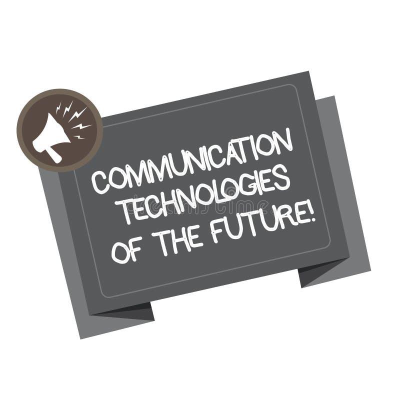 Word écrivant des technologies des communications des textes de l'avenir Concept d'affaires pour le mégaphone social innovateur m illustration de vecteur