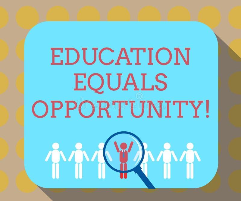 Word écrivant l'égalité des chances d'éducation des textes Concept d'affaires pour que les droites semblables acquièrent des conn illustration stock