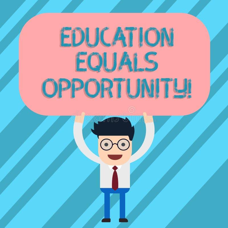 Word écrivant l'égalité des chances d'éducation des textes Concept d'affaires pour que les droites semblables acquièrent des conn illustration de vecteur