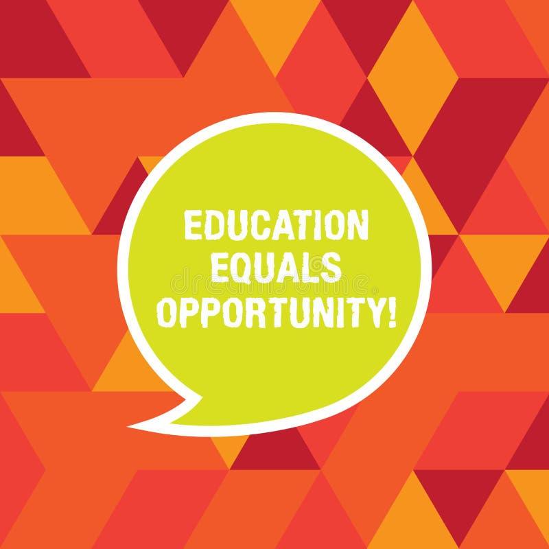 Word écrivant l'égalité des chances d'éducation des textes Concept d'affaires pour que les droites semblables acquièrent des conn illustration libre de droits