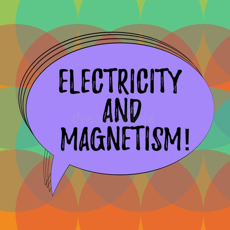 Word écrivant l'électricité et le magnétisme des textes Concept d'affaires pour Embodies qu'un ovale vide à un noyau de force éle illustration stock
