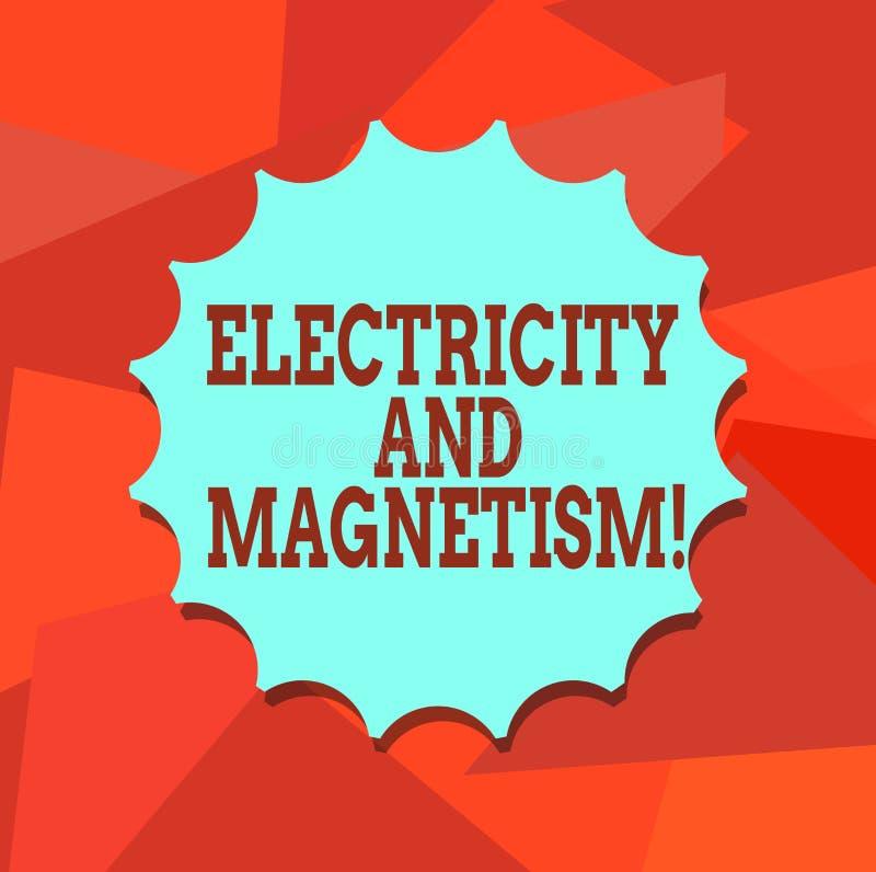Word écrivant l'électricité et le magnétisme des textes Concept d'affaires pour Embodies un joint vide à un noyau de force électr illustration de vecteur