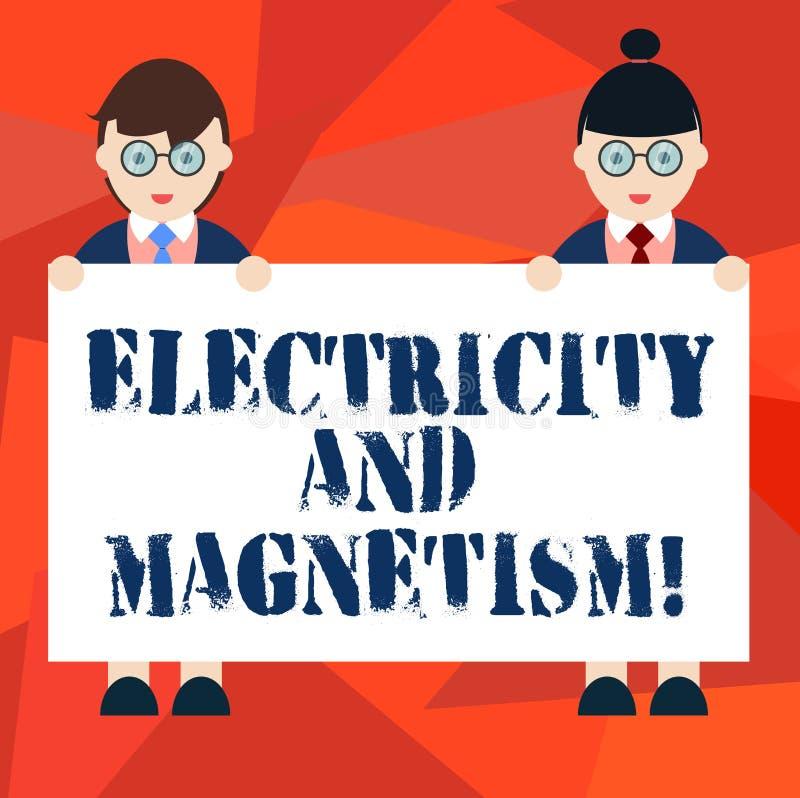 Word écrivant l'électricité et le magnétisme des textes Concept d'affaires pour Embodies un mâle à un noyau de force électromagné illustration stock