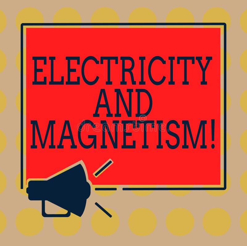 Word écrivant l'électricité et le magnétisme des textes Concept d'affaires pour Embodies un mégaphone à un noyau de force électro illustration libre de droits