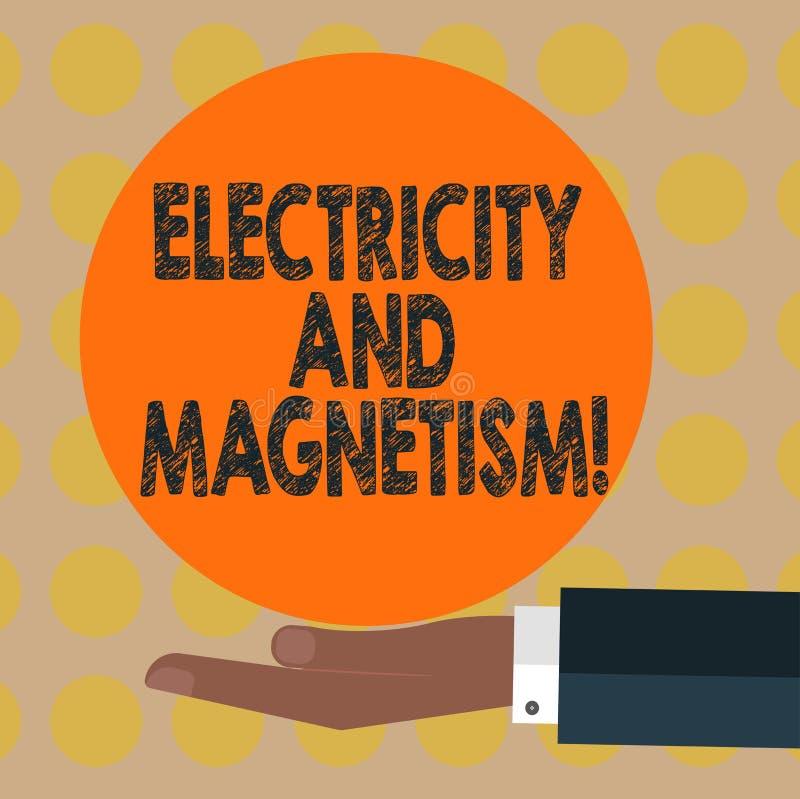 Word écrivant l'électricité et le magnétisme des textes Concept d'affaires pour Embodies une main à un noyau d'analyse de HU de f illustration libre de droits